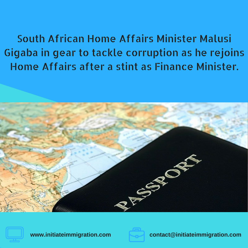 South African Home Affairs Minister Malusi Gigaba in gear to tackle corruption as he rejoins the home affairs Home Affairs after a stint as Finance Minister.